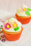 Easter cupcakes decorated with flowers. Shallow focus royalty free stock photography
