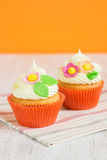 Easter cupcakes decorated with flowers Royalty Free Stock Image