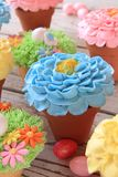 Easter cupcakes and Easter eggs Stock Image