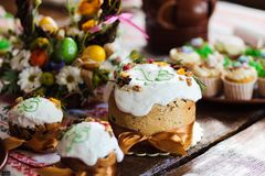 Easter cupcakes and Easter eggs. Easter cupcakes and Easter on table Royalty Free Stock Photos