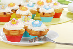Easter cupcakes with a fork Stock Photography