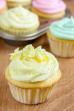 Easter Cupcakes. Cupcakes frosted in pastel colors for Easter or Spring Royalty Free Stock Photography