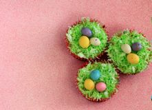 Easter cupcakes with malted chocolate eggs Stock Photos
