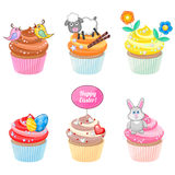 Easter cupcakes. Set of festive Easter cupcakes with different decorations Royalty Free Stock Photo
