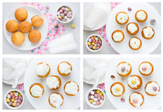 Easter cupcakes shaped birds nest with speckled candy eggs Stock Photos