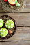 Easter cupcakes top view Stock Image