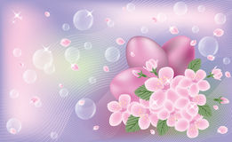 Easter cute banner with eggs and sakura flores Royalty Free Stock Photography