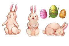 Easter cute bunnies. Hand-drawn watercolor collection of Easter cute bunnies and colored eggs isolated on the white background. Set of holiday Easter Vector Illustration