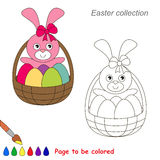 Easter Cute Bunny cartoon. Page to be colored. Royalty Free Stock Photos