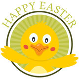 Easter Cute Chick Greeting Card. A Happy Easter green greeting card with a cute chick, isolated on white background. Eps file available Royalty Free Stock Image