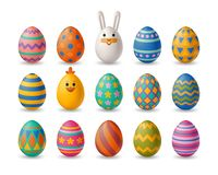Easter cute eggs set with white bunny and chicken royalty free stock image