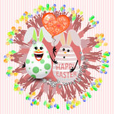 Easter cute eggs two lovely with a balloon Stock Images