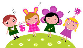 Easter cute happy party kids, spring celebration vector illustration