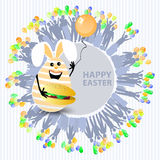 Easter cute illustration. Rabbit-egg with a bun. And with a balloon in his hands, on a circle background with silhouette of people with gifts and with balloons Royalty Free Stock Images