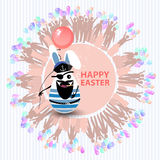 Easter cute illustration. Rabbit-egg. In captain s uniform with a balloon in hands, on a circle background with silhouette of people with gifts and with Stock Photos