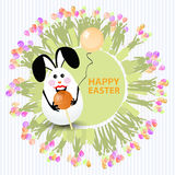 Easter cute illustration. Rabbit-egg with caramel. In the shape of a circle-ball and with a balloon in hands, on a circle background with silhouette of people Stock Photo