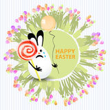 Easter cute illustration. Rabbit-egg with caramel. In the shape of a circle spiral and with a balloon in his hands, on a circle background with silhouette of Stock Image