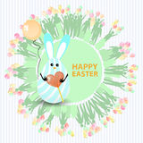 Easter cute illustration. Rabbit-egg. With caramel sugar in heart shape and with a balloon in hands, on a circle background with silhouette people with gifts Royalty Free Stock Images