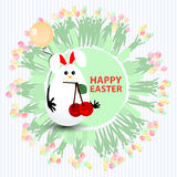 Easter cute illustration. Rabbit-egg with cherry. Ripe and with a balloon in hands, on a circle background with silhouette people with gifts and with balloons Royalty Free Stock Image