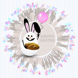Easter cute illustration. Rabbit-egg chocolate. Cake and with a balloon in hands, on a circle background with silhouette people with gifts and with balloons Stock Image