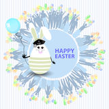 Easter cute illustration. Rabbit-egg. In the form of a sailor with a blue balloon in his hands, on a circle background with silhouette of people with gifts and Royalty Free Stock Photography