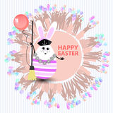 Easter cute illustration. Rabbit-egg. In the form of a sailor with a broom and with a balloon in his hands, on a circle background with silhouette people with Royalty Free Stock Image