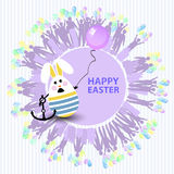 Easter cute illustration. Rabbit-egg in the shape. Of a sailor with an anchor and with a balloon in his hands, on a circle background with silhouette of people Stock Image