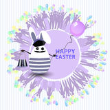 Easter cute illustration. Rabbit-egg. In the shape of a sailor with binoculars and with a balloon in his hands, on a circle background with silhouette of people Royalty Free Stock Photography