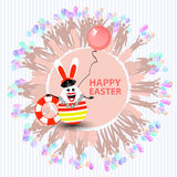 Easter cute illustration. Rabbit-egg in the shape. Of a sailor girl with a life buoy and with a balloon in her hands, on a circle background with silhouette Stock Photography