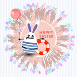 Easter cute illustration. Rabbit - egg. Easter cute illustration. Rabbit - an egg in the shape of a sailor with a life preserver and with a balloon in his hands Royalty Free Stock Photos