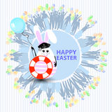 Easter cute illustration. Rabbit-egg. In the shape of a young girl with a life buoy and with a blue balloon in her hands, on a circle background with silhouette Royalty Free Stock Photography