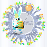 Easter cute illustration. Rabbit-egg. With three-layered hamburger and with a balloon in hands, on a circle background with silhouette of people with gifts and Royalty Free Stock Photography