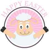 Easter Cute Lamb Greeting Card. A Happy Easter pink greeting card with a cute lamb, isolated on white background. Eps file available Royalty Free Stock Image