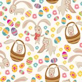Easter cute pattern with bunny Royalty Free Stock Photography