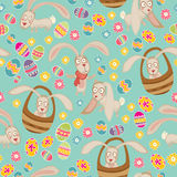 Easter cute pattern with bunny Stock Images