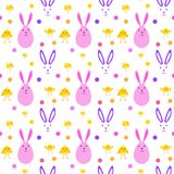Easter Cute Seamless Pattern With Yellow Chicken And Bunnies On White Background. Vector Illustration Stock Images