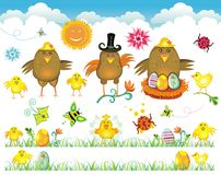 Easter cute set of design elements Royalty Free Stock Photo