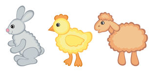 Easter cuties. Easter hare, chicken and lamb baby animals Royalty Free Stock Images