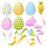 Easter 3d paper cut eggs, ribbons, rabbit set. Vector holiday craft handmade design elements on white background stock illustration