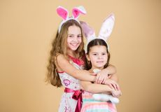 Easter day. Easter activities for children. Happy easter. Holiday bunny girls with long bunny ears. Children bunny. Costume. Playful girls sisters celebrate stock photography