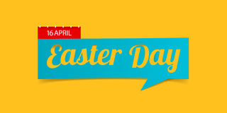 Easter Day banner isolated on yellow background. Banner design template in paper cutting art style. Vector. Stock Photos