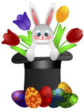 Easter Day Bunny in Magician Hat Royalty Free Stock Photos