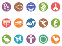 Easter day button icons set Royalty Free Stock Images
