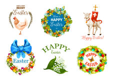 Easter Day cartoon label set for holiday design Royalty Free Stock Images