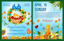 Easter Day celebration cartoon poster template Stock Images