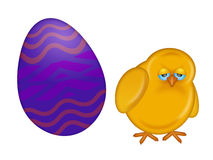 Easter Day Chick with Painted Egg Royalty Free Stock Photography