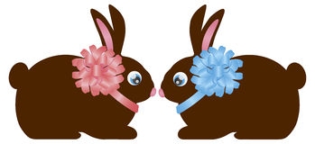 Easter Day Chocolate Bunny Rabbit Pair Stock Photo
