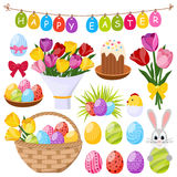 Easter Day Decorative Icons Set Stock Photography