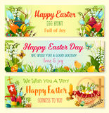 Easter Day and Egg Hunt celebration banner set Royalty Free Stock Images