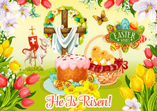 Easter Day and Egg Hunt greeting card design Royalty Free Stock Photo